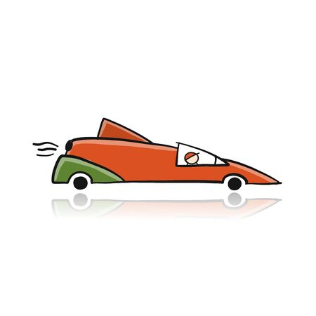 Retro racing car red, isolated on white. Sketch for your design