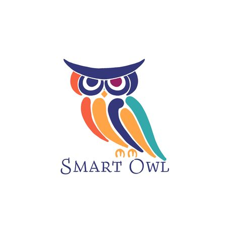 Cute owl colorful, logo design template