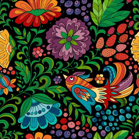 Magic forest with birds, seamless pattern for your design