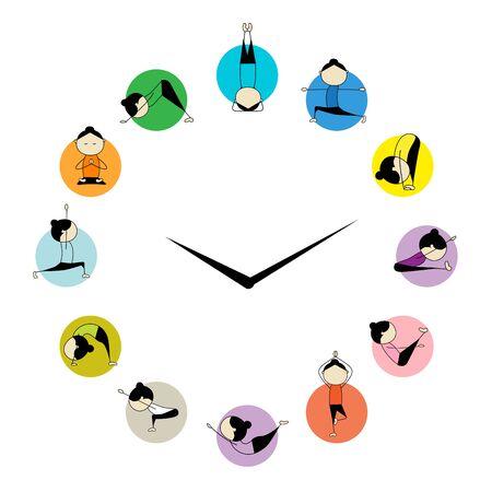Woman practicing Yoga. Circle clock concept. Poster infographics design for yoga studio. International Yoga Day greeting card.