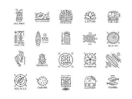 Sri Lanka travel, icons set. Tribal elements for your design