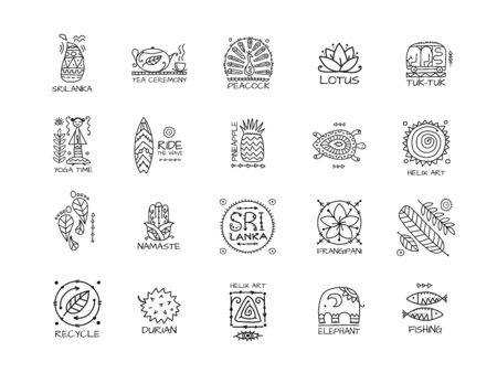 Sri Lanka travel, icons set. Tribal elements for your design Vettoriali