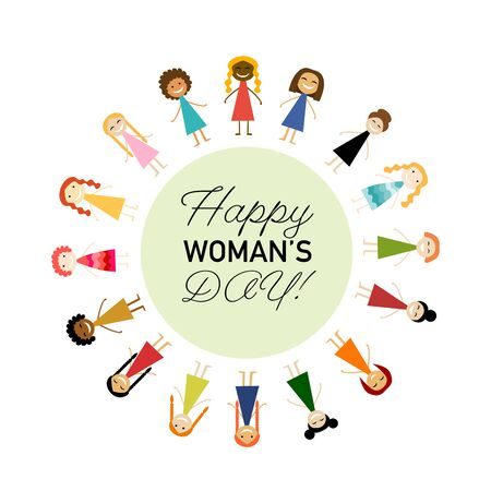International Women s Day. Vector illustration with cute women for your design card, poster, flyer and other