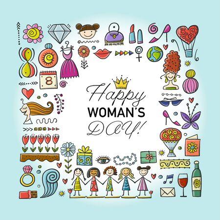 International Women s Day. Greeting card for your design. Vector illustration Illusztráció