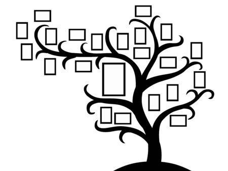 Family tree template with picture frames. Insert your photos here. Vector illustration