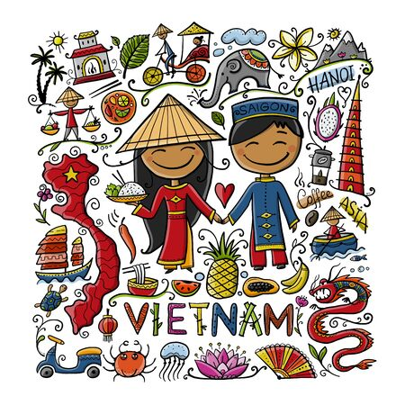Travel to Vietnam. Frame with traditional Vietnamese cultural symbols. Vietnamese landmarks and lifestyle of people. Vector illustration