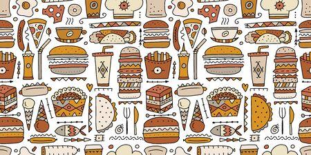 Fast food collection. Hamburger pizza sausages snacks sandwich ice cream. Food menu, seamless pattern for your design Ilustração
