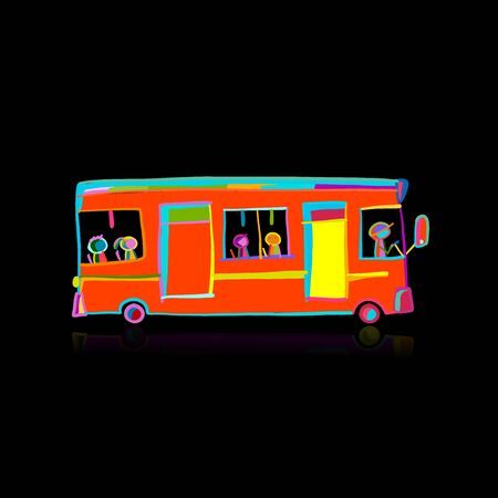 Cute cartoon hand drawn red bus icon, city transport. Sketch for your design Banque d'images - 142369326
