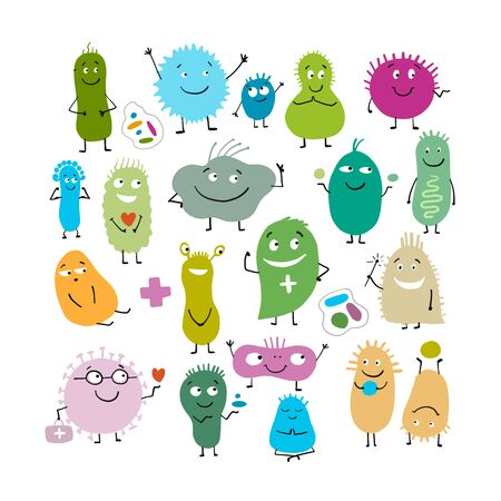 Funny and scary bacteria characters isolated on white. Vector icons of gut and intestinal flora, germs, virus. Illustration Vector Illustratie