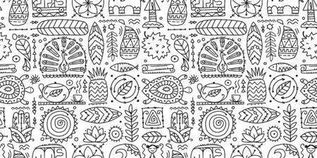 Sri Lanka art travel, tribal seamless pattern for your design. Vector illustration