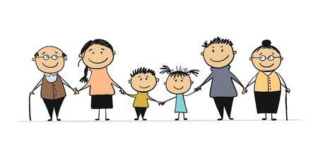Happy big family with children