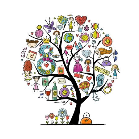 International Women s Day. Art tree with female accesuares