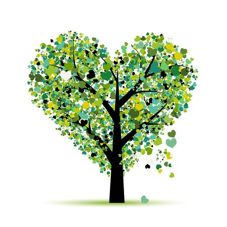 Love tree. Valentines day card for your design