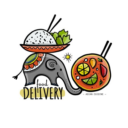 Food Delivery Concept. Asian Elephant with Food. Sketch for your design 向量圖像