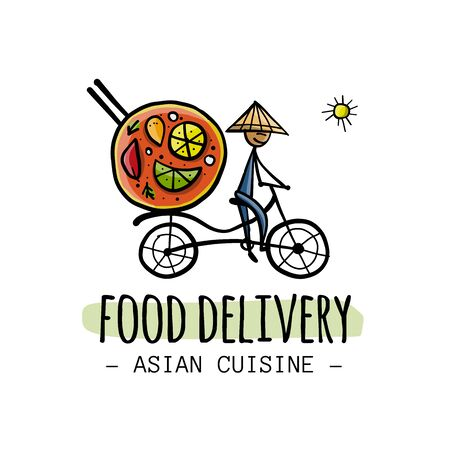 Food Delivery. Asian Man drive Bicycle with Food. Sketch for your design