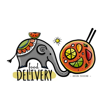 Food Delivery Concept. Asian Elephant with Food. Sketch for your design Vettoriali
