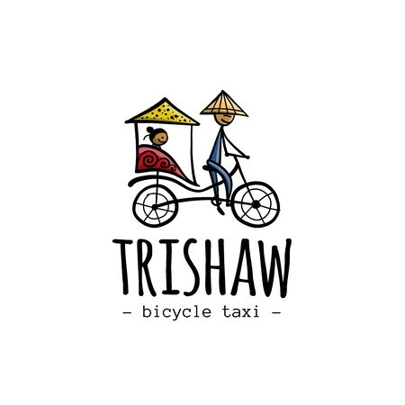 Rickshaw, asian taxi. Sketch for your design