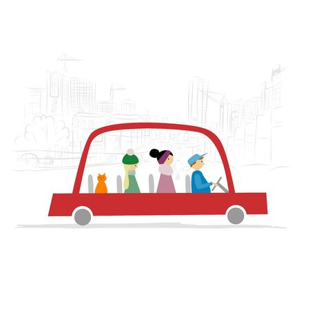 Red taxi car with people and cat drive on city background. Vector illustration