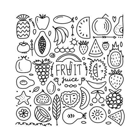 Fruits collection, creative background for your design Ilustração