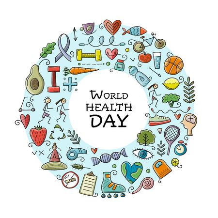 World health day. Concept art with healty lifestyle for your design Vetores