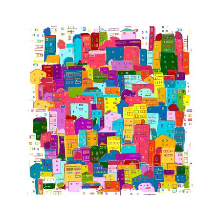 Abstract cityscape background, sketch for your design. Vector illustration 向量圖像