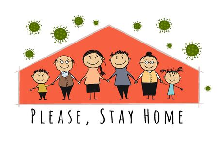 Stay At Home, Quarantine Concept. Family at House. Sketch for your design