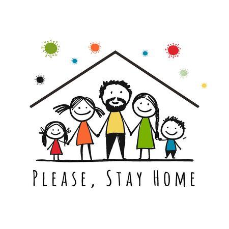 Restez à la maison, concept de quarantaine. Famille à la maison. Esquisse pour votre conception. Illustration vectorielle Vecteurs