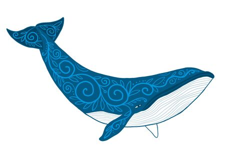 Wild Whale with Ethnic Ornaments. Vector illustration Vectores