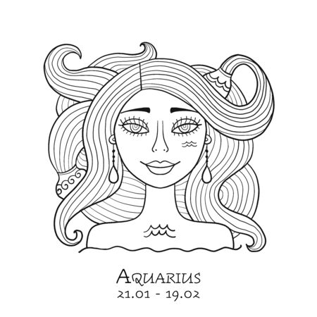 Illustration of Aquarius zodiac sign. Element of Air. Beautiful Girl Portrait. One of 12 Women in Collection For Your Design of Astrology Calendar, Horoscope, Print. Coloring page