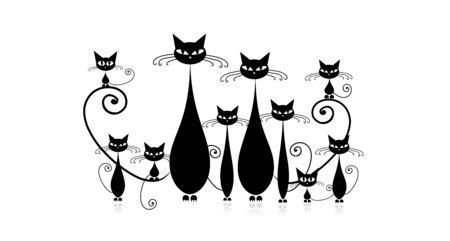 Funny cats family with kittens, black silhouette