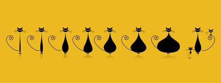 Thick and thin cat. Pregnant cat stage. Vector illustration
