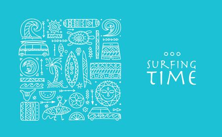 Surfing background. Tribal elements for your design Vettoriali
