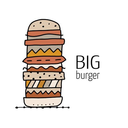 Big Burger, outline simple style. fast food design icon for print, web or mobile app Ilustracja