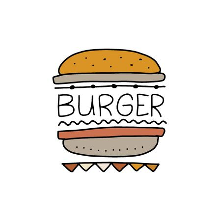 Burger, outline simple style. fast food design icon for print, web or mobile app