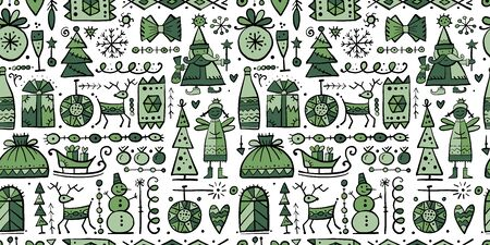 Christmas seamless background, sketch for your design