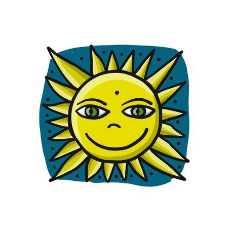 Hello Summer. Smiling funny sun icon