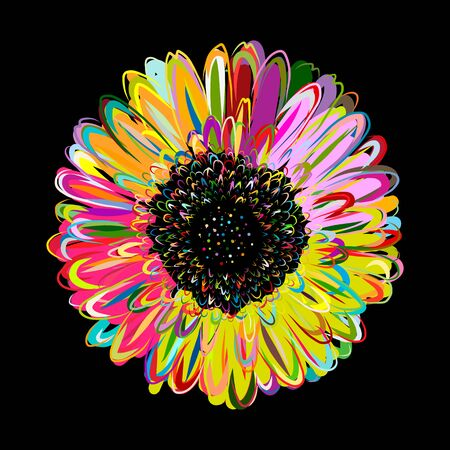 Multicolored daisy, chamomile flower isolated. Sketch for your design