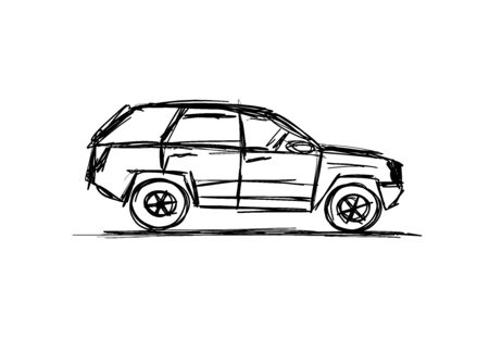 Tuned SUV, sketch for your design. Vector illustration