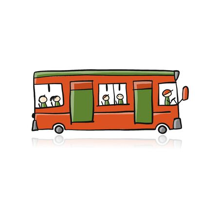 Cute cartoon hand drawn red bus icon, city transport. Sketch for your design. Vector illustration Illustration
