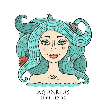 Illustration of Aquarius zodiac sign. Element of Air. Beautiful Girl Portrait. One of 12 Women in Collection For Your Design of Astrology Calendar, Horoscope, Print.
