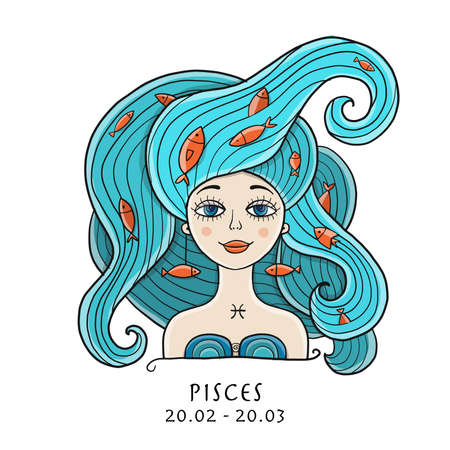 Illustration of Pisces zodiac sign. Element of Water. Beautiful Girl Portrait. One of 12 Women in Collection For Your Design of Astrology Calendar, Horoscope, Print.