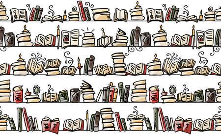 Seamless pattern with books on bookshelves, sketch design Vektoros illusztráció