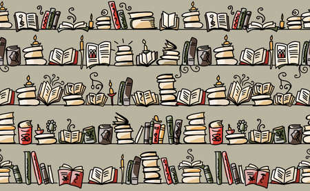 Seamless pattern with books on bookshelves, sketch design