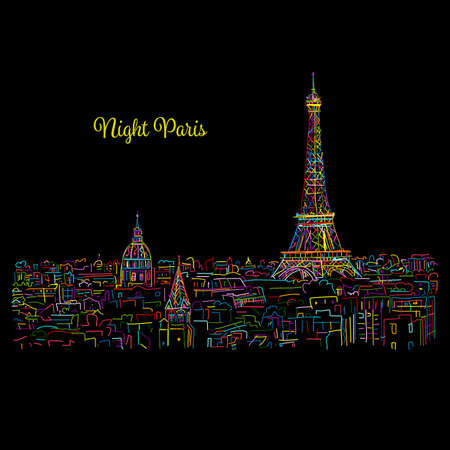 Night Paris,cityscape with Eifel Tower. Sketch for your design 矢量图像