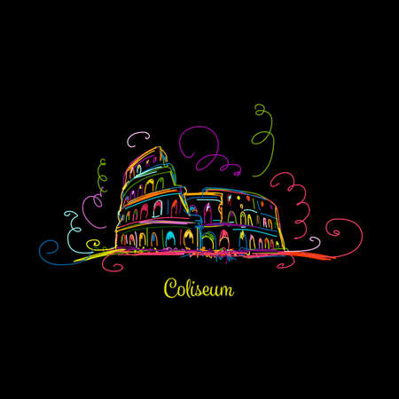 Sketch colorful of Roman Colosseum