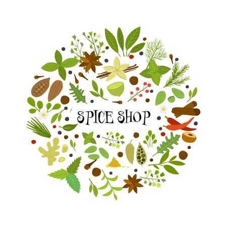 Spice shop, herbs and spices collection for your design Ilustração