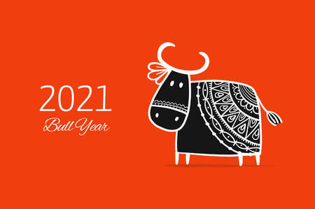 Funny sketch bull. Lunar horoscope sign. Happy new year 2021. Bull, ox, cow. Template for your design - poster, card, invitation