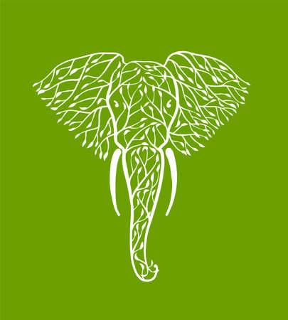 Elephant head made from tree leaves. Save the earth. Vector design