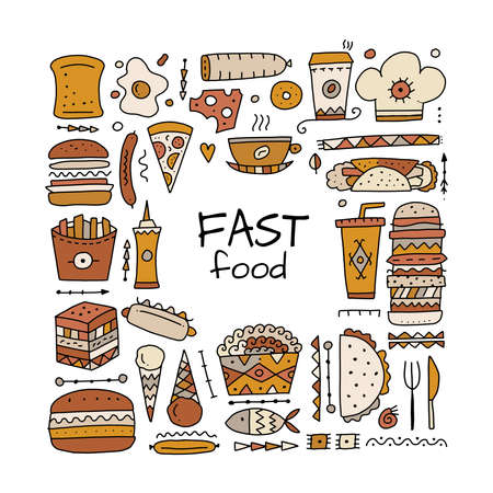 Fast food icons. Hamburger pizza sausages snacks sandwich ice cream. Food menu background for your design