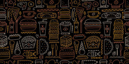 Fast food collection. Hamburger pizza sausages snacks sandwich ice cream. Food menu, seamless pattern for your design 矢量图像